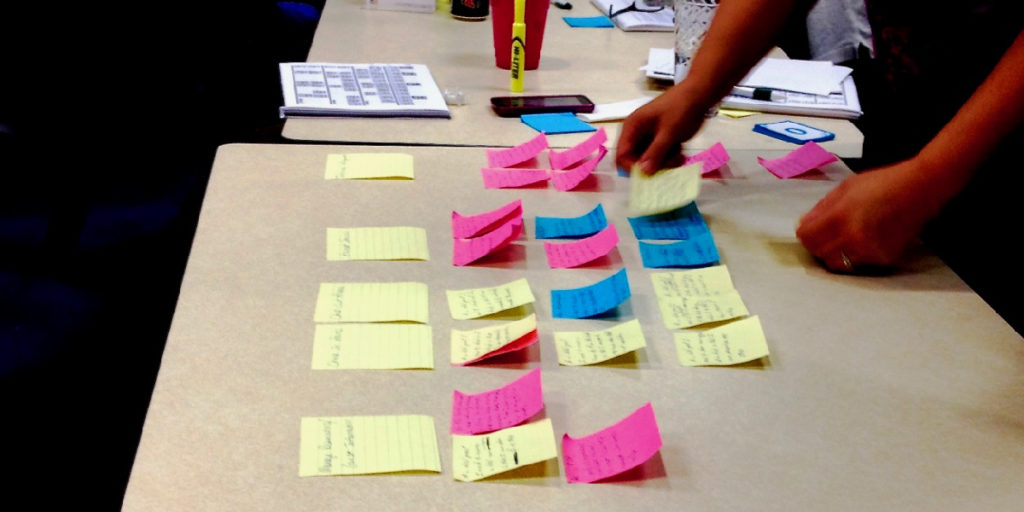 Agile storymapping on a table