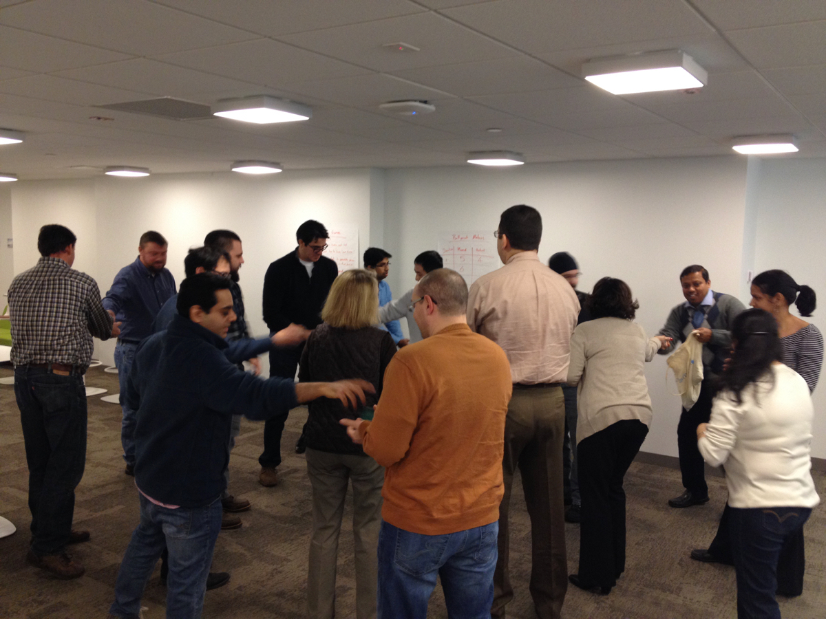 Agile Team playing the ball point game